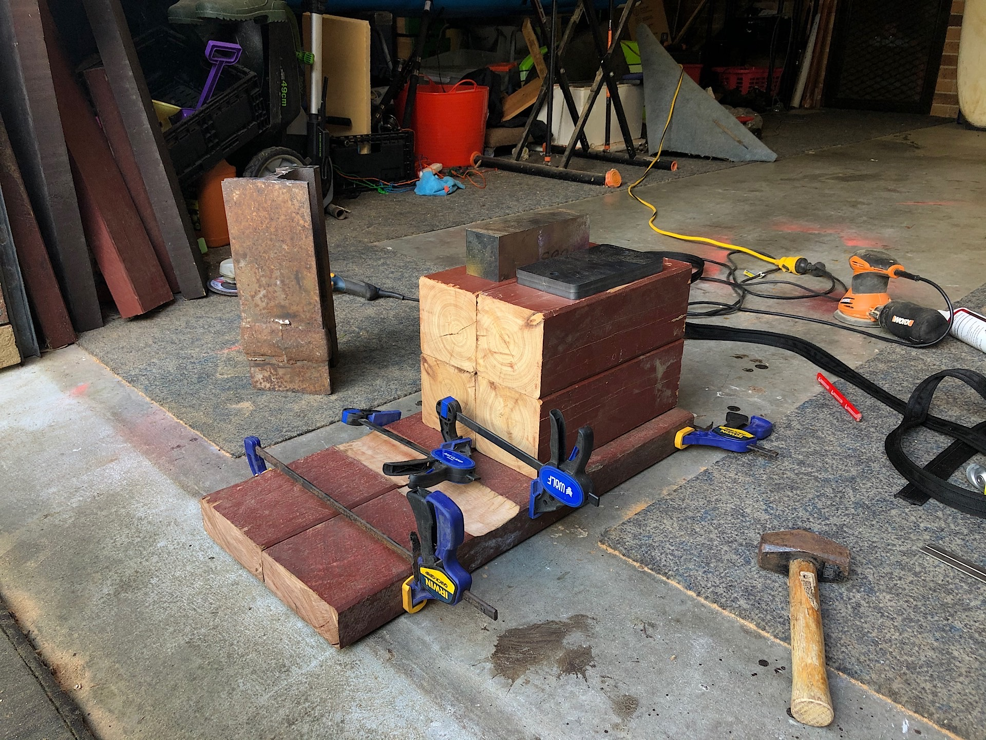 Glueing wooden board and clamping them