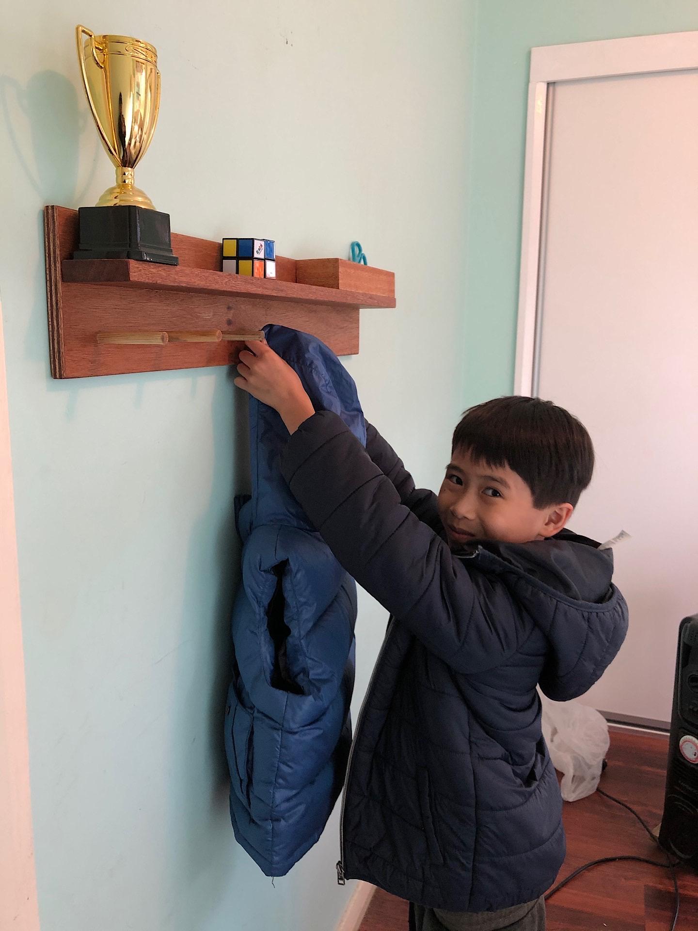 Installing the homemade wall coat hanger