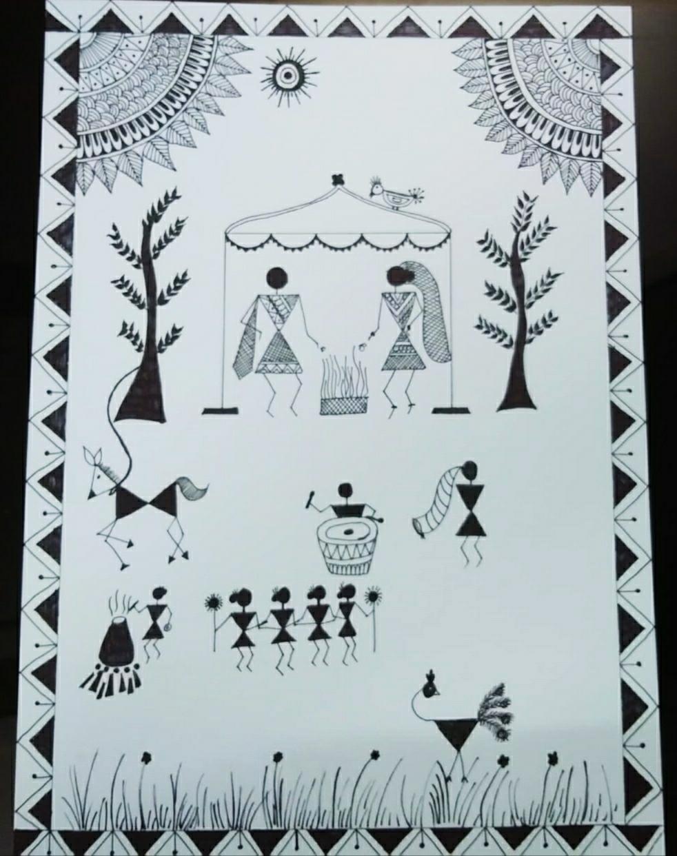 Warli Art Wedding Day Indian Traditional Tribal Art Art Work By Jojo Hive