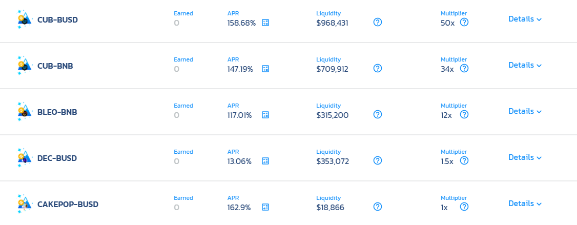 Screenshot showing the best return rate you can get on Cub Finance.