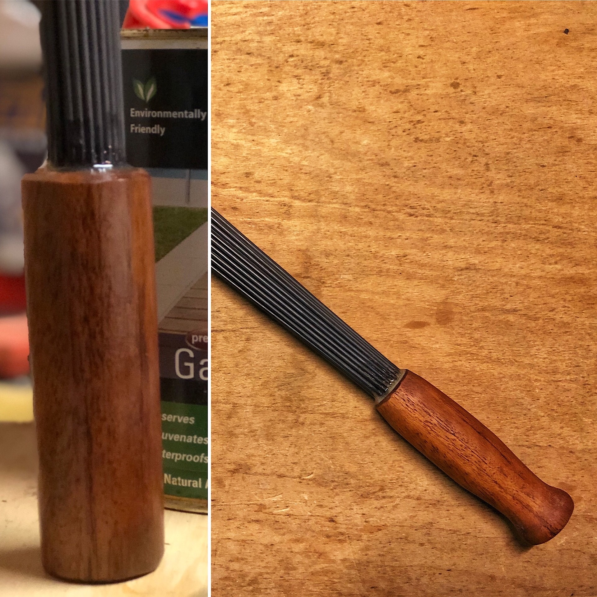 Homemade steel brush for Iron Shirt body conditioning