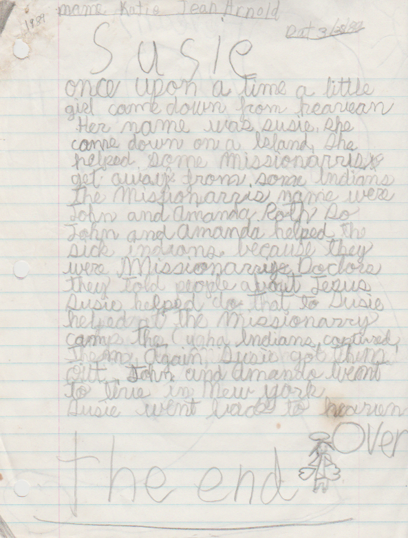 1989-03-28 - Tuesday - Susie Short Story by 8-year-old Katie Jean Arnold, Emmaus Christian School, plus Robin Short Story with no date included-1.png