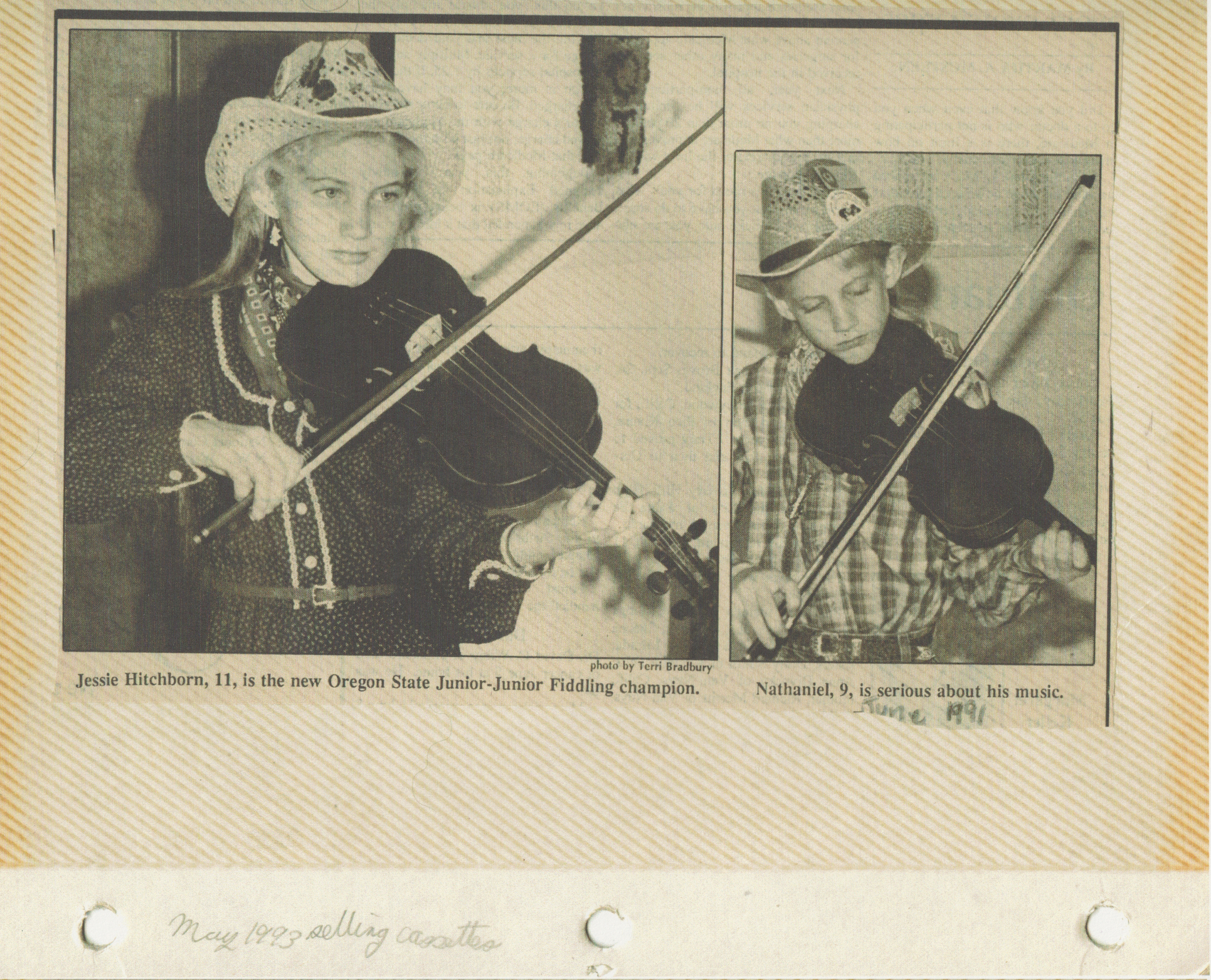 1991-06 - Jessica Hitchborn, 11 years old, Nathaniel, 9, Fiddling. May 93 - Selling Cassettes.jpg