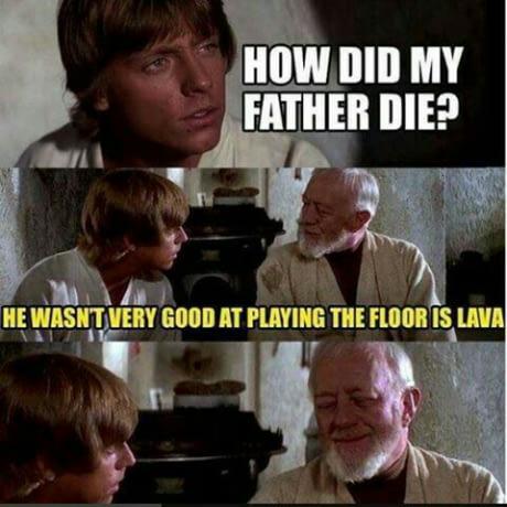 Star Wars Luke Kenobi Father Vader Anakin Floor is Lava Game Sucks He Was And Died Hahaha Meme EuCwXNiWgAItIBr.jpeg