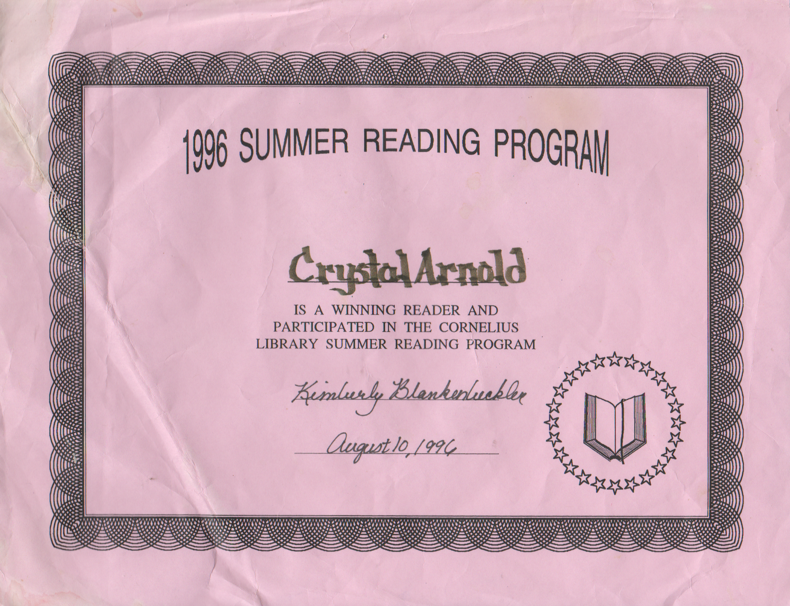 1996-08-10 - Saturday - Crystal Arnold, Summer Reading Program, Winning Reader, Participant, Certificate.png