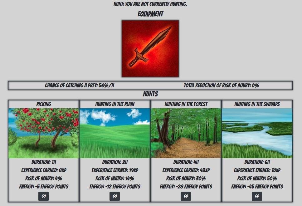 Hunts interface