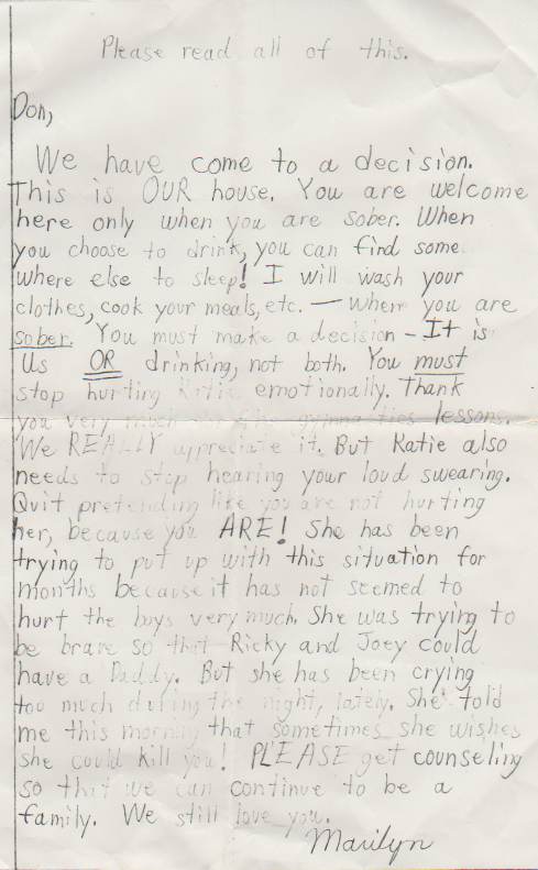 1990s maybe - Marilyn Morehead Mitchell to Don Arnold on the problem of hsi drinking for the family, no date included.png