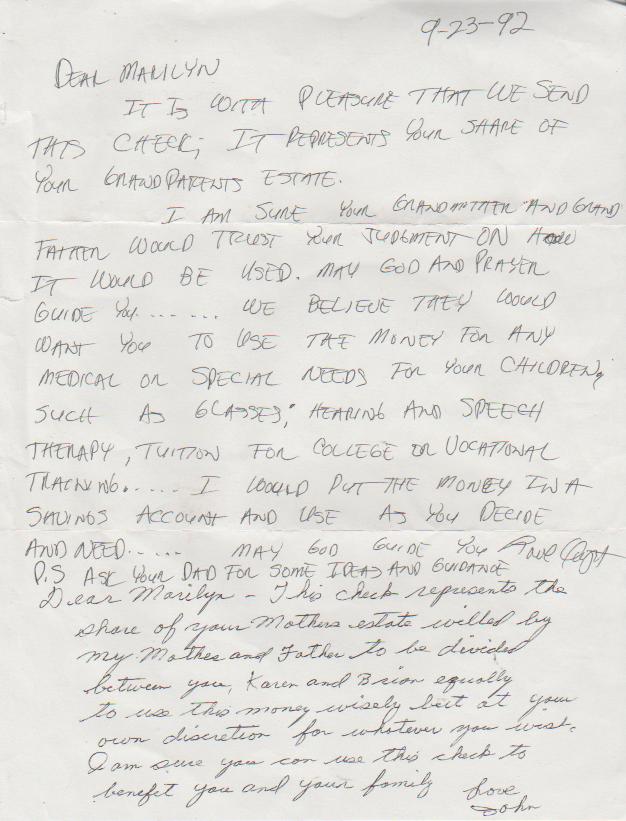 1992-09-23 - Wednesday - John Pickett to Marilyn Morehead Mitchell regarding inheritance from Grandma Ann.png