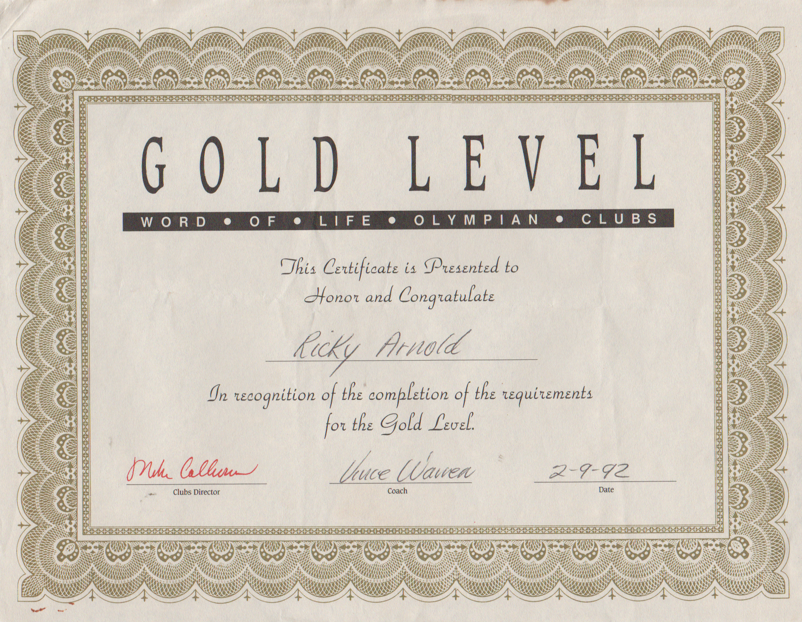 1992-02-09 - Sunday - Olympian Clubs, Gold Level, Coach Vince Warren, Ricky Arnold ok.png