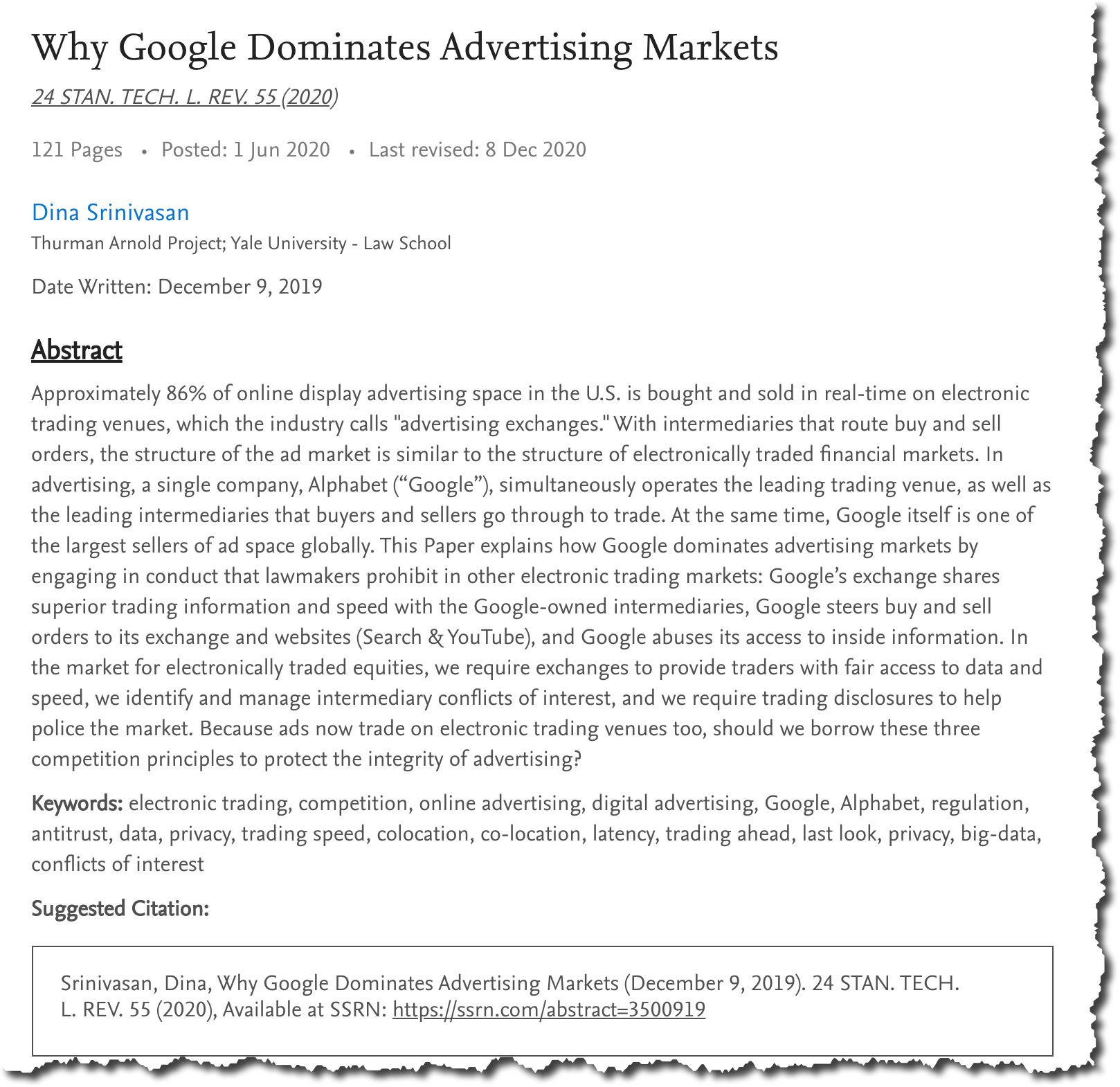 Why google dominates advertising markets