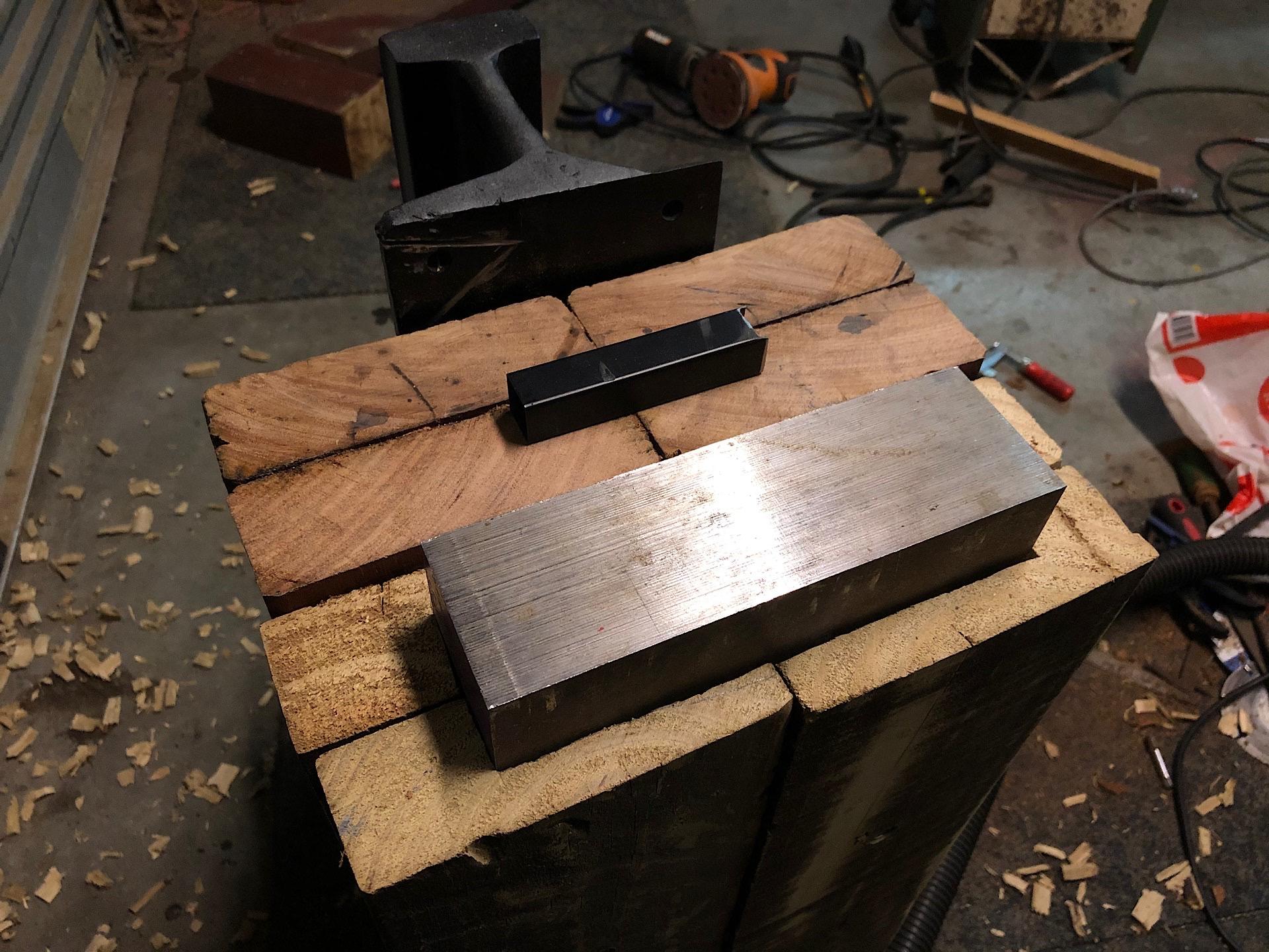 Tool steel anvil installed