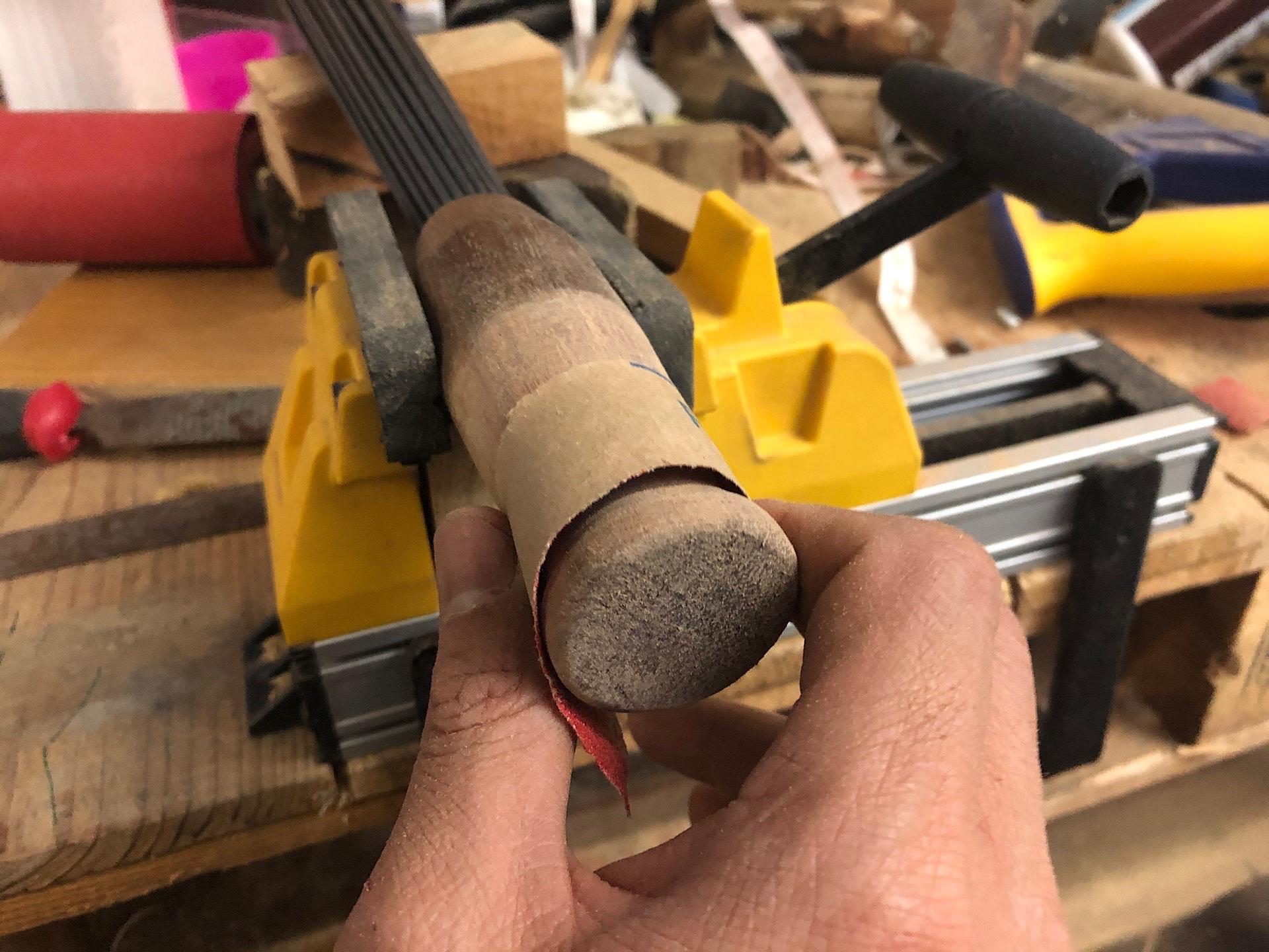 Sanding the handle