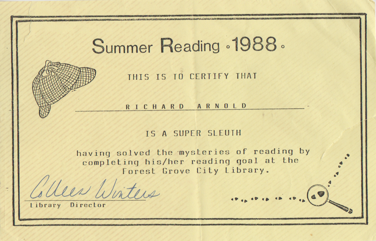 1988-06 - Summer Reading, Richard Arnold is a Super Sleuth, library director.png
