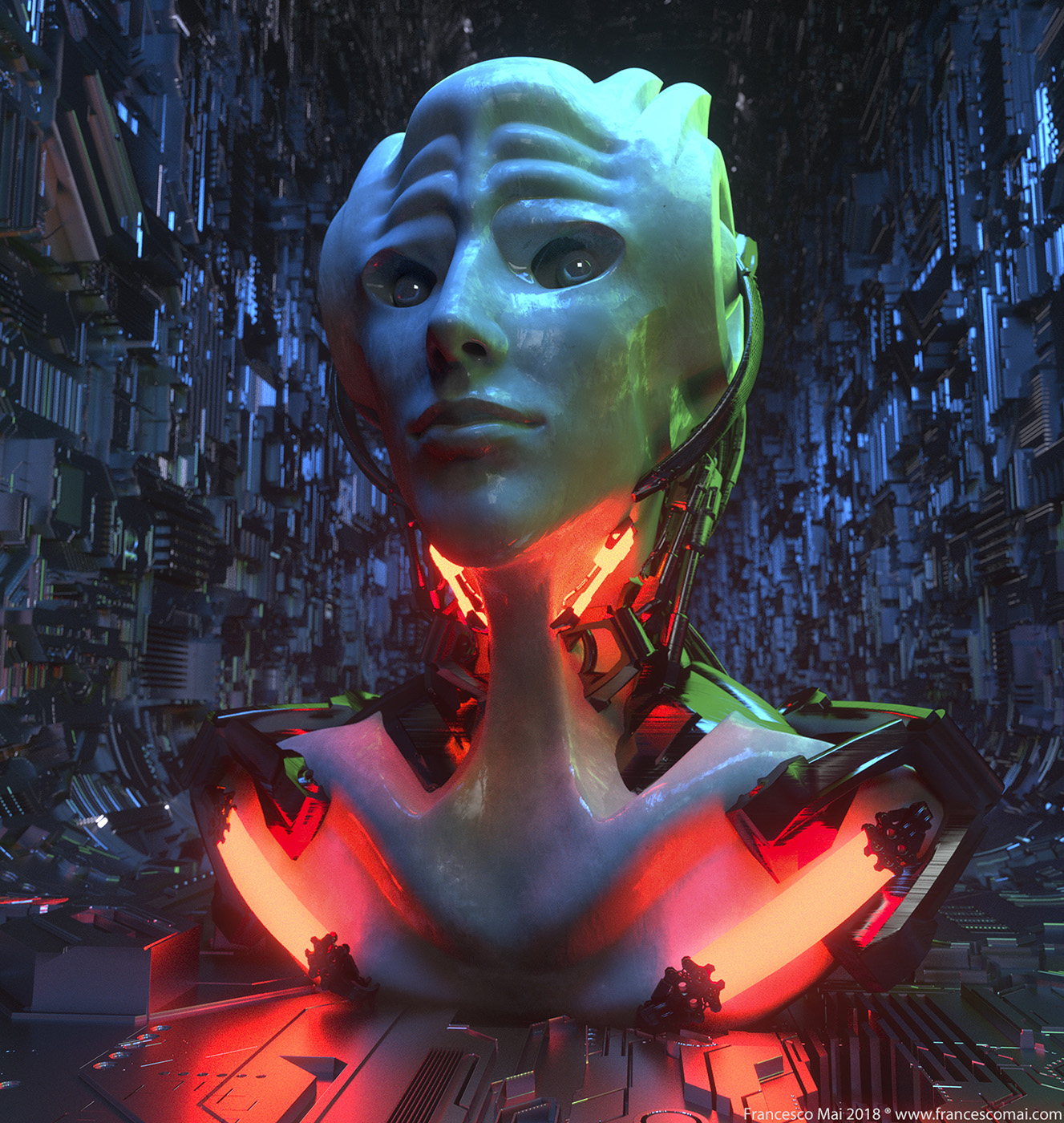 Testa Femminile cyber queen mat bianco occhigreeble tunnel variation ok RED.jpg