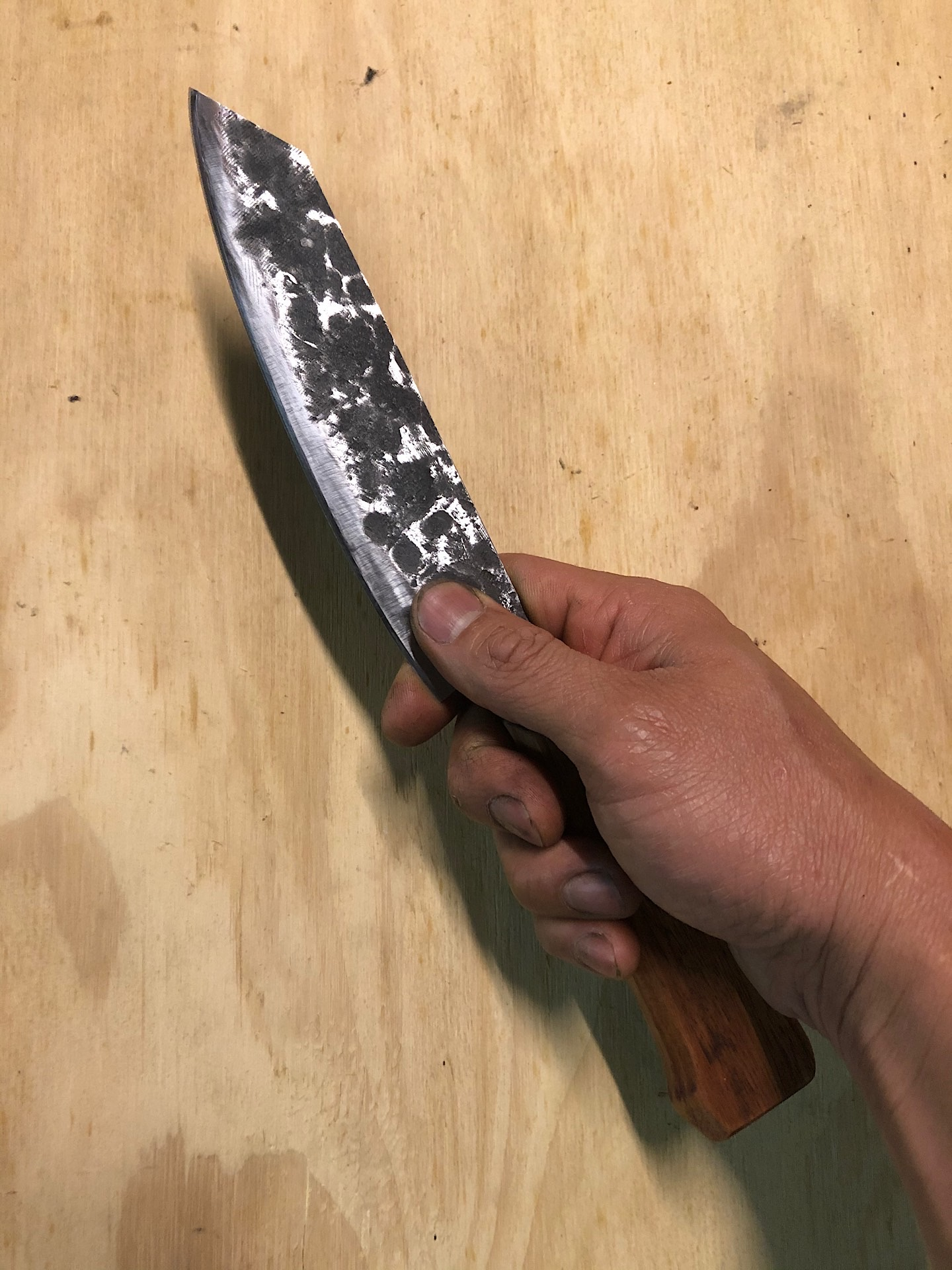 Holding my DIY chef's knife