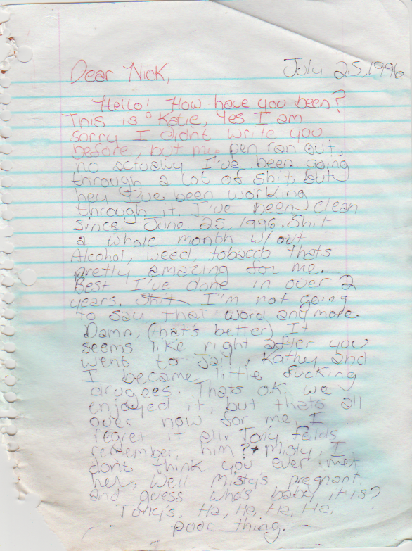 1996-07-25 - Thursday - Katie Arnold to Nick, mentions Sarah Ford, other things, plus letter to Diann regarding drug rehab agreement-1.png