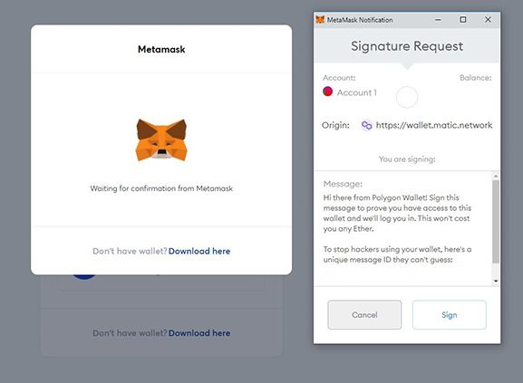 Agree to the signature request on MetaMask.