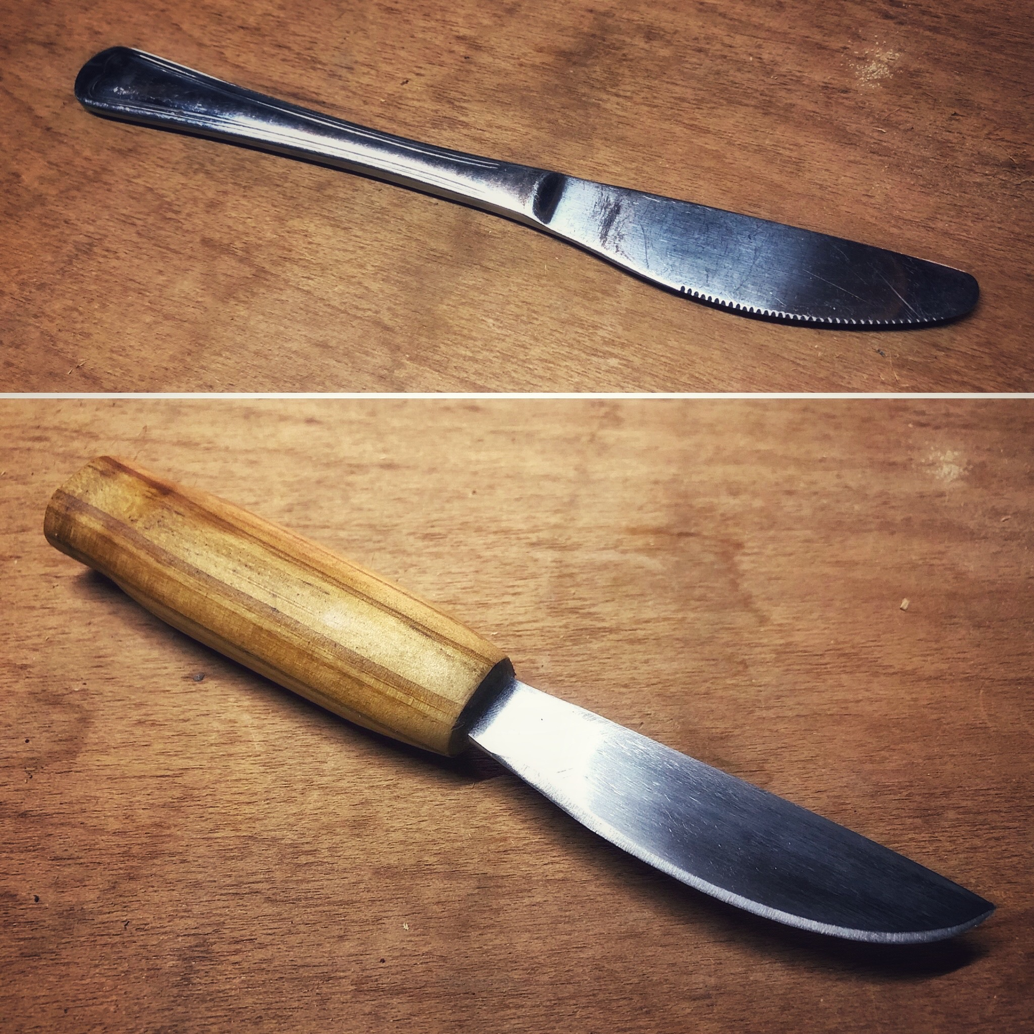 Turning a butter knife into a camping knife