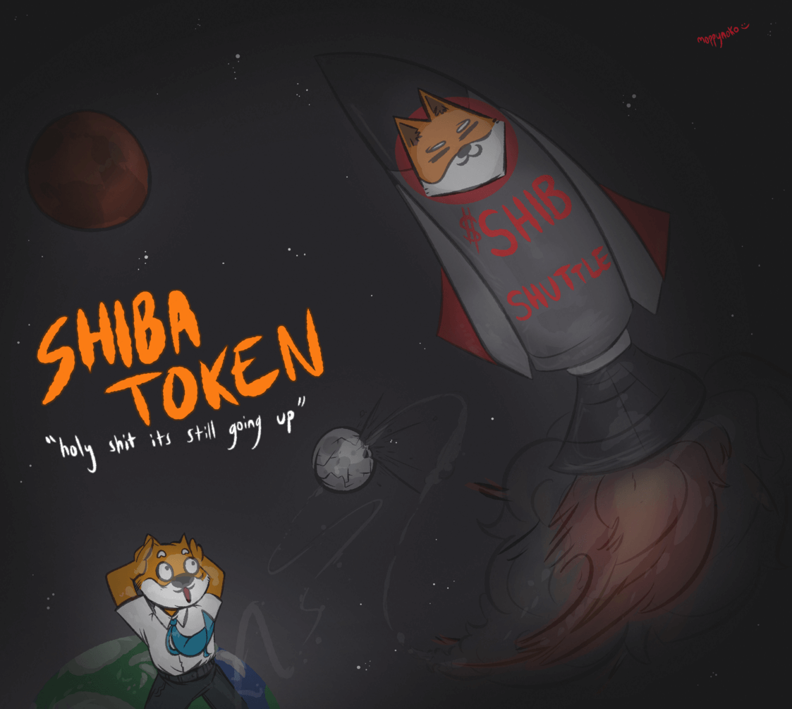 Shiba Inu crypto art which can be bought from the official website.