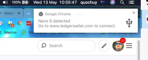 Chrome detecting the USB Ledger Nano S
