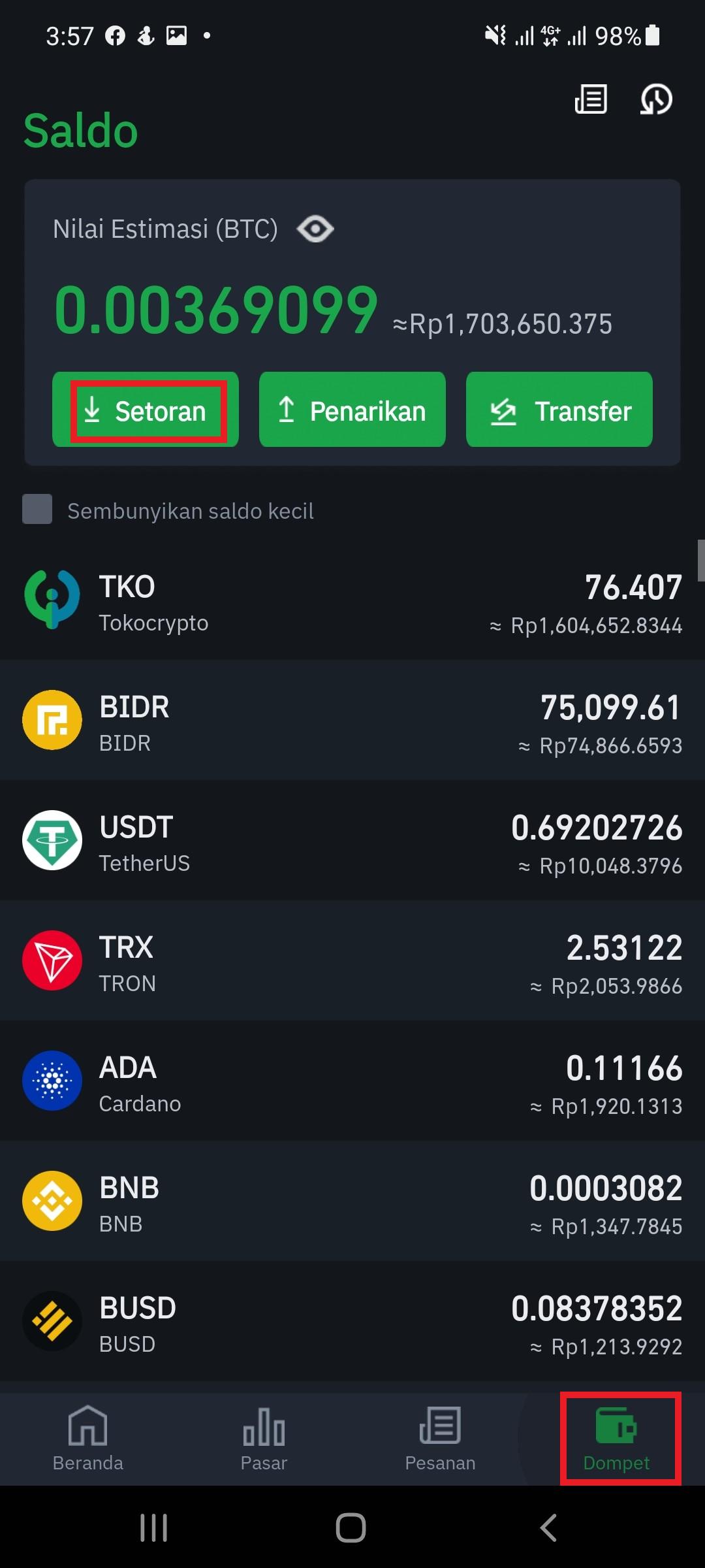 tokocrypto wallet usd