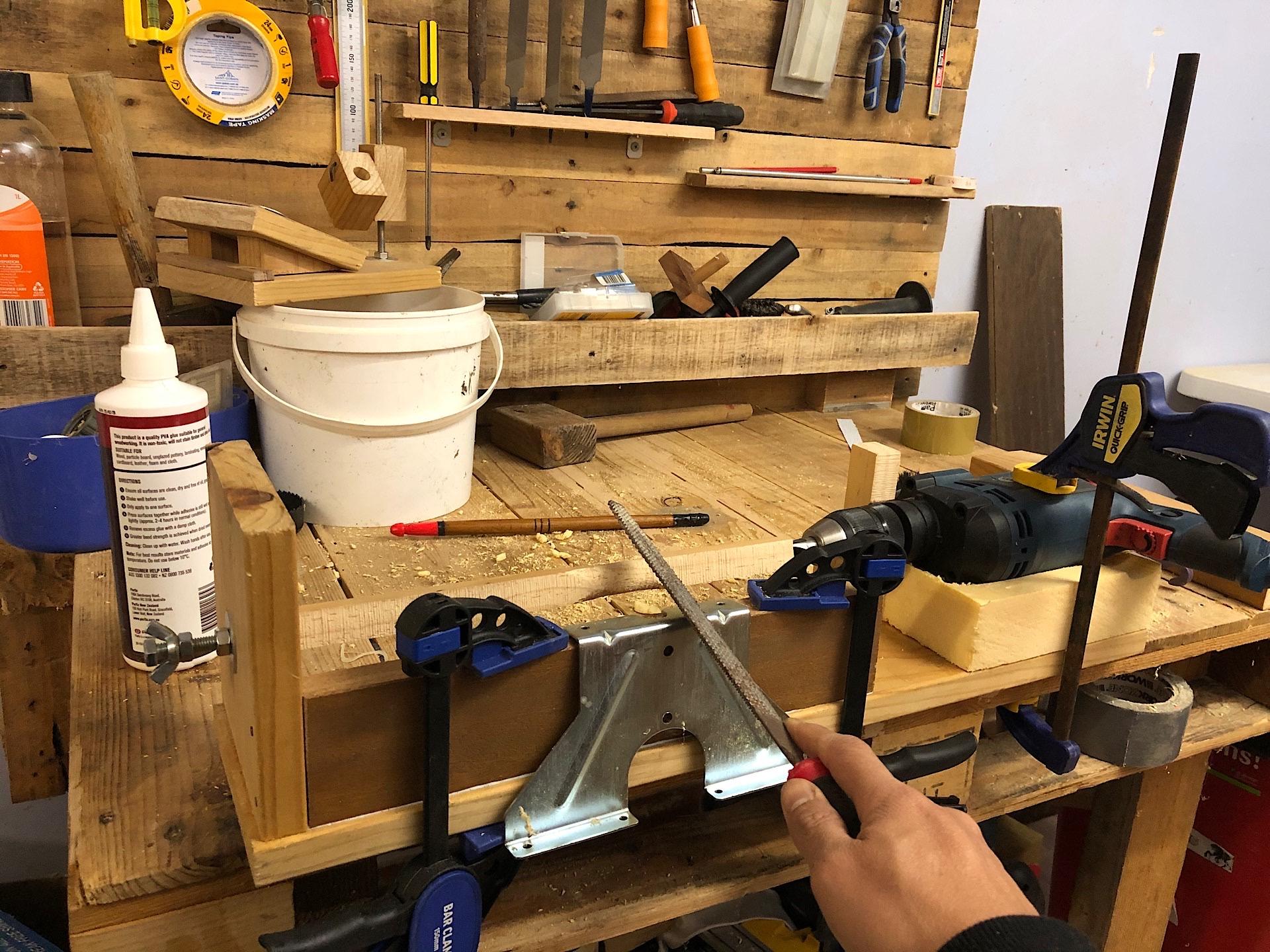Homemade drill-powered lathe