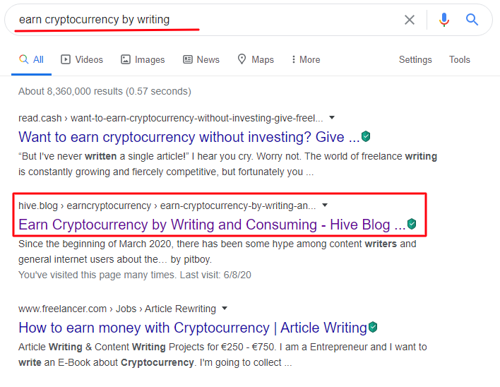 Earn cryptocurrency on google search