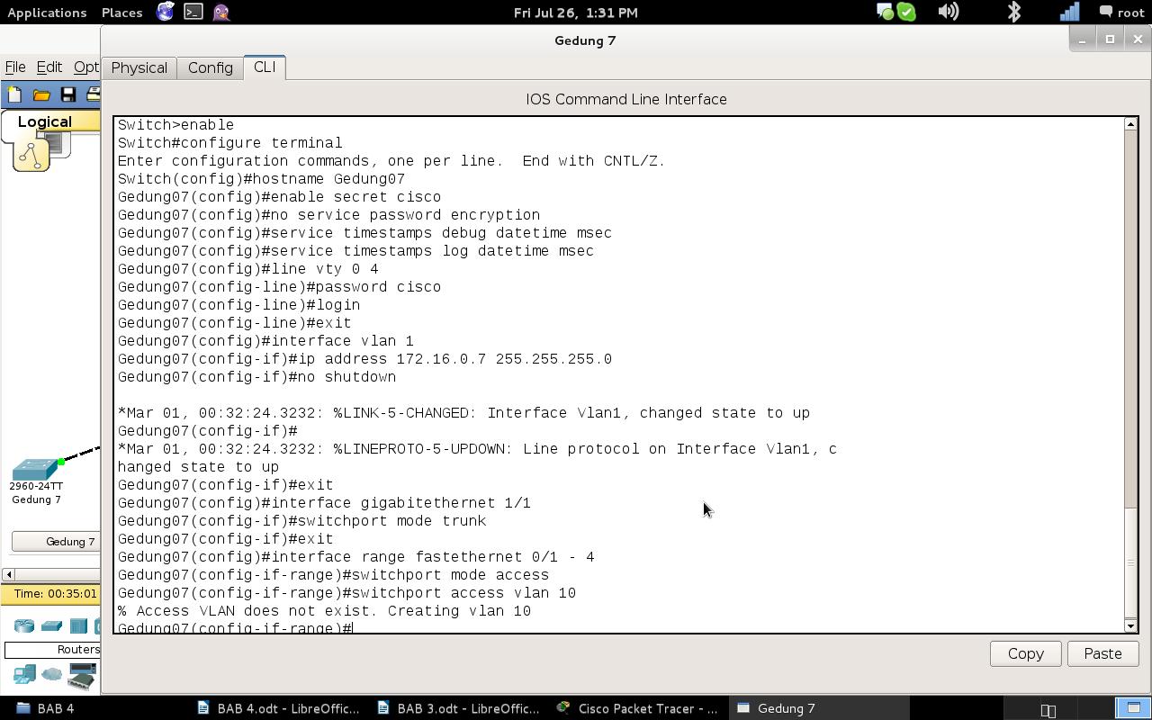 Konfigurasi lokal pada NOC 1