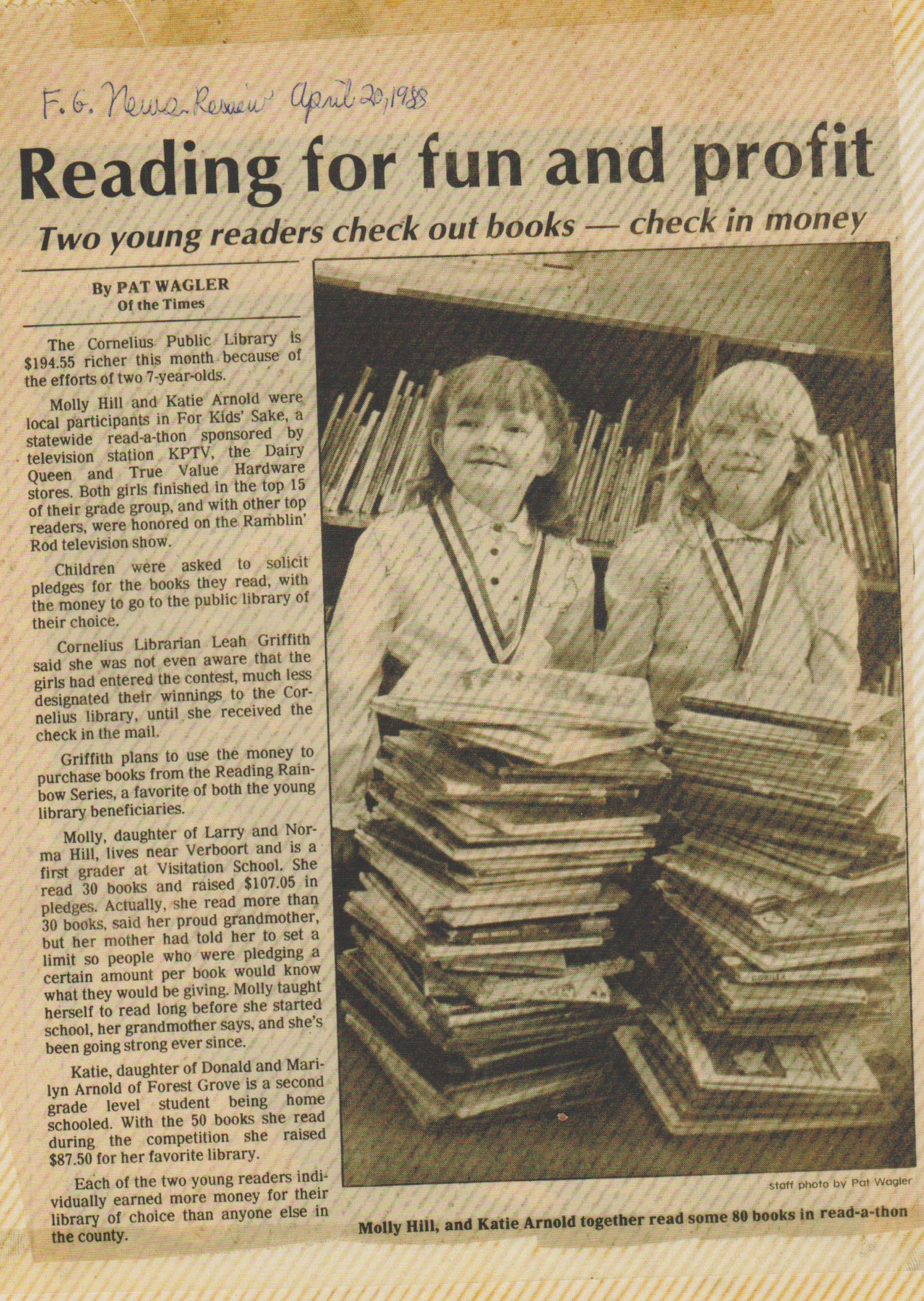 1988-04-20 - Molly Hill, Katie Arnold, county winners - 80 books read, state-wide For Kids Sake read-a-thon.jpg