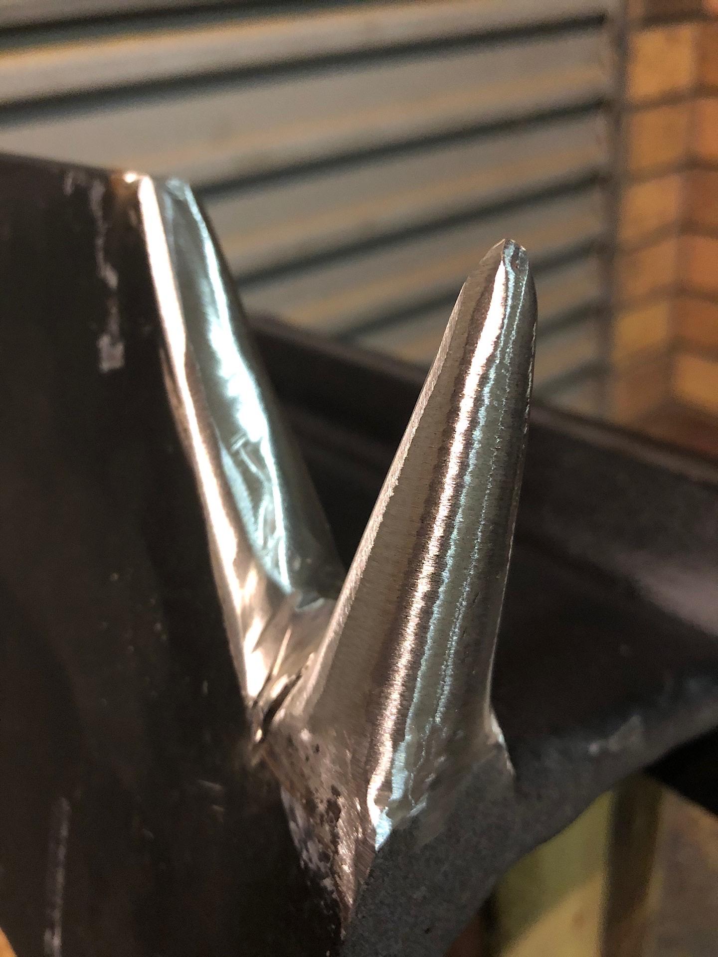Horn/Bickern on a rail anvil