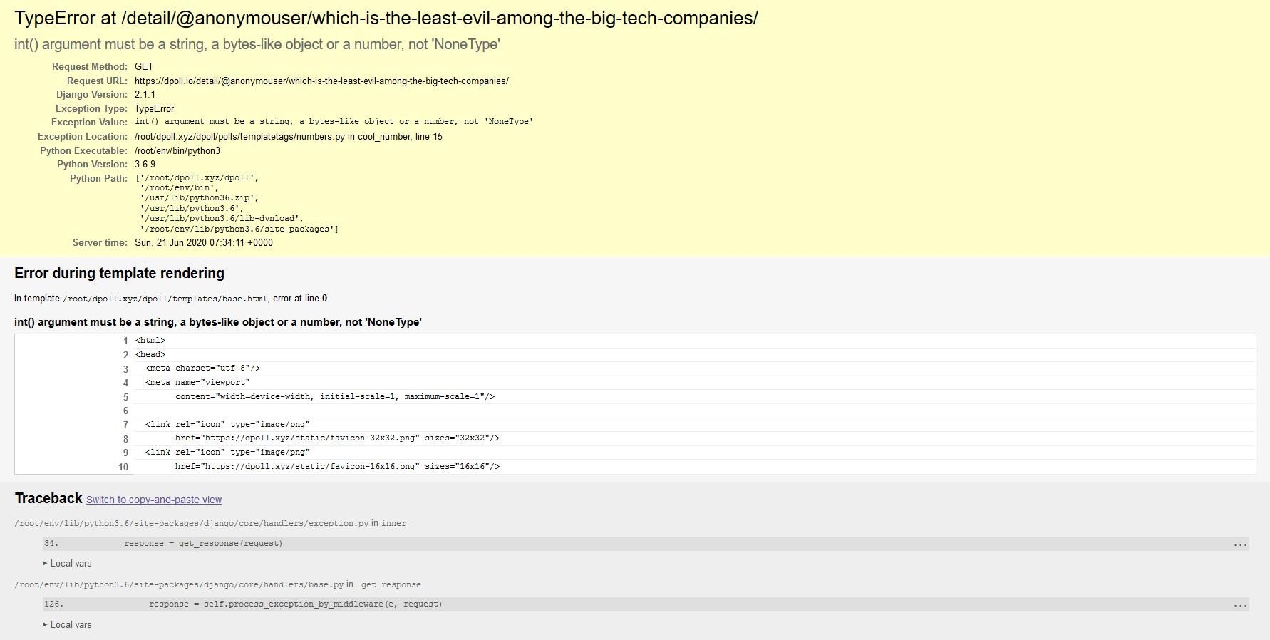 Error page at dPoll.io