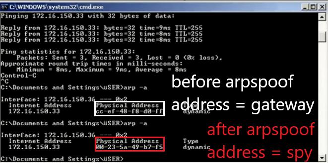 Gambar 4.1 mac sebelum dan sesudah arpspoof.png