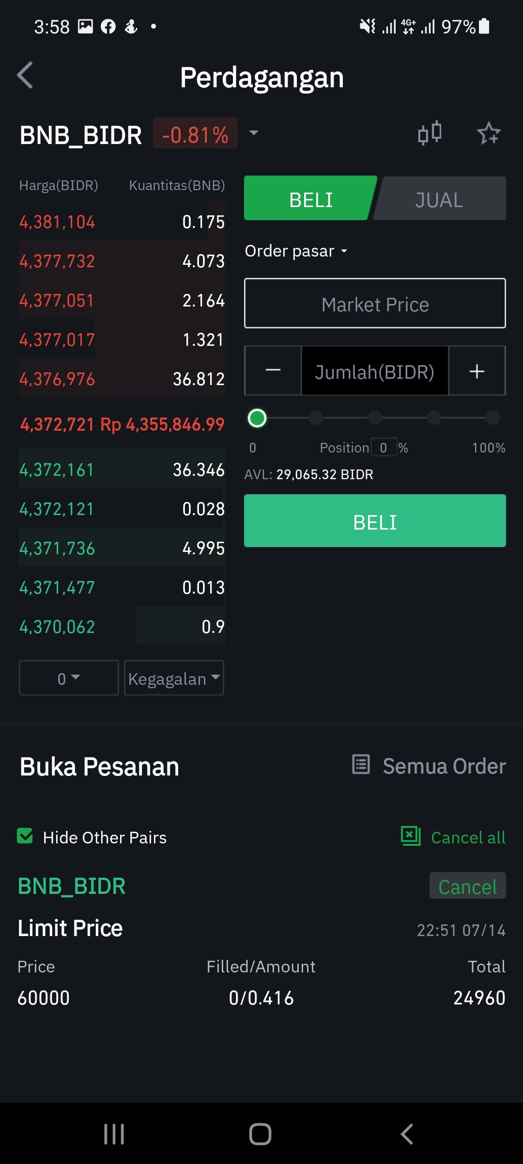 tokocrypto market order
