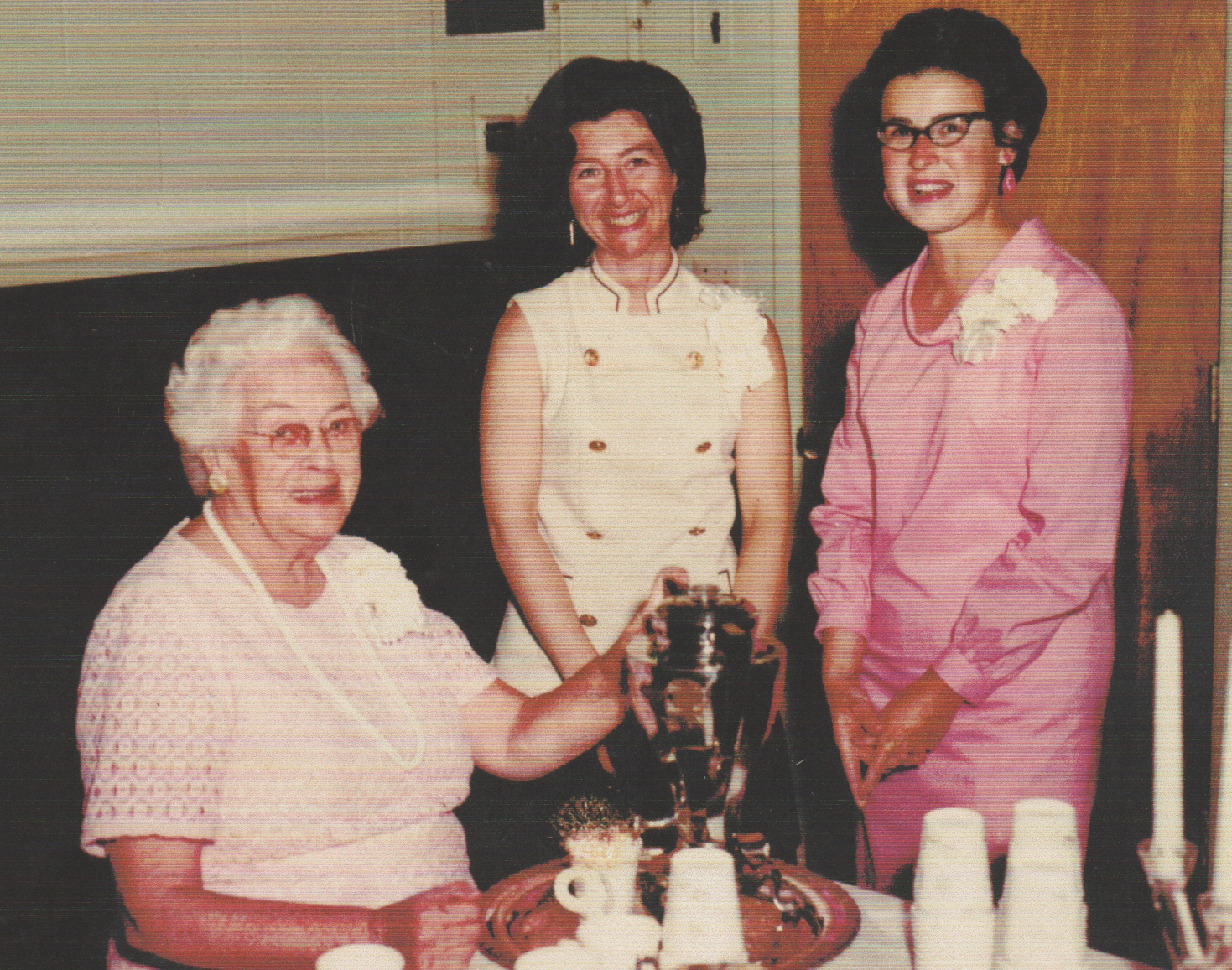 1980's of three older ladies,, white hair, two in black hair, two in white, one in pink.jpg