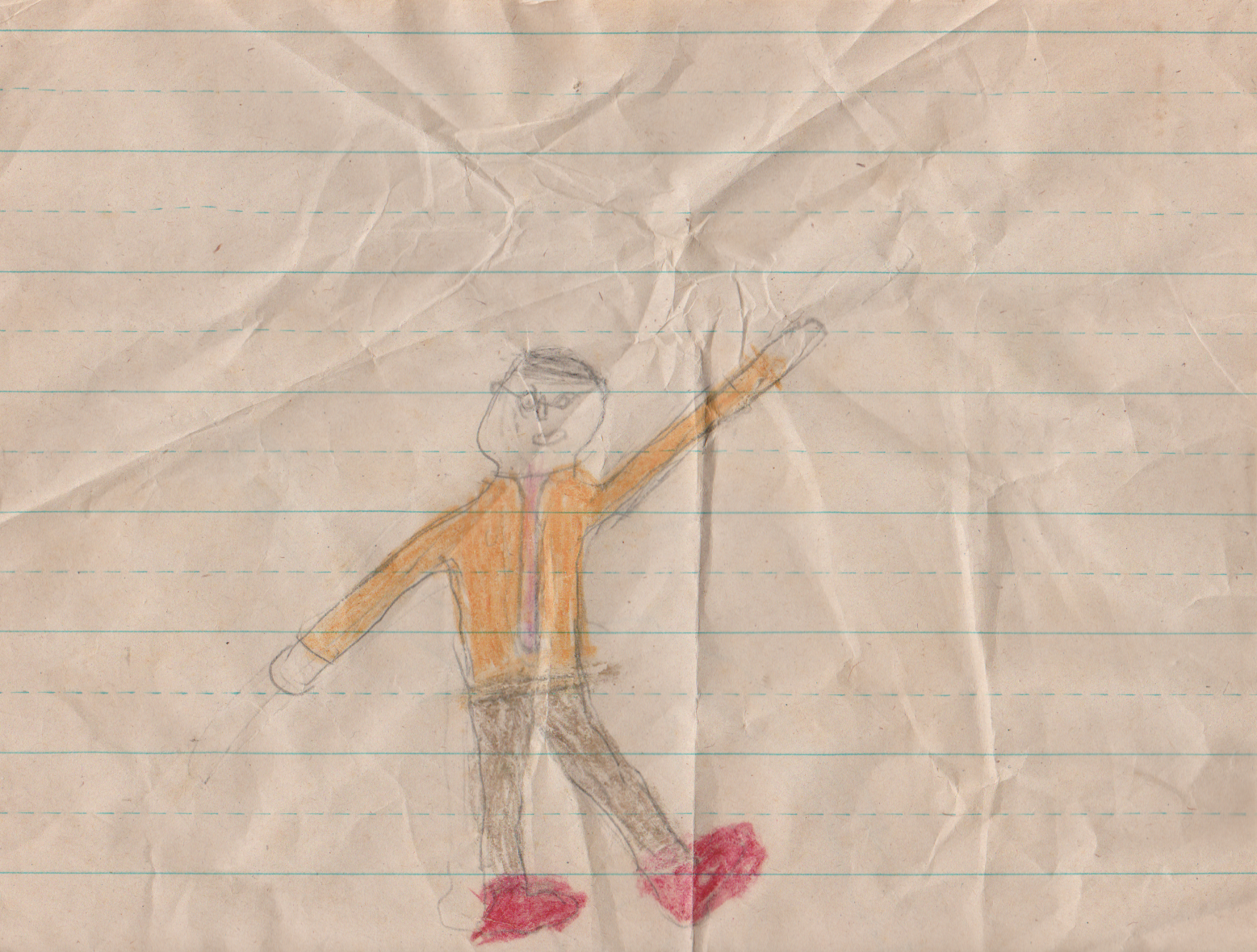 1990s - Joey Arnold drawing himself waving, maybe 1995, not sure when-1.png