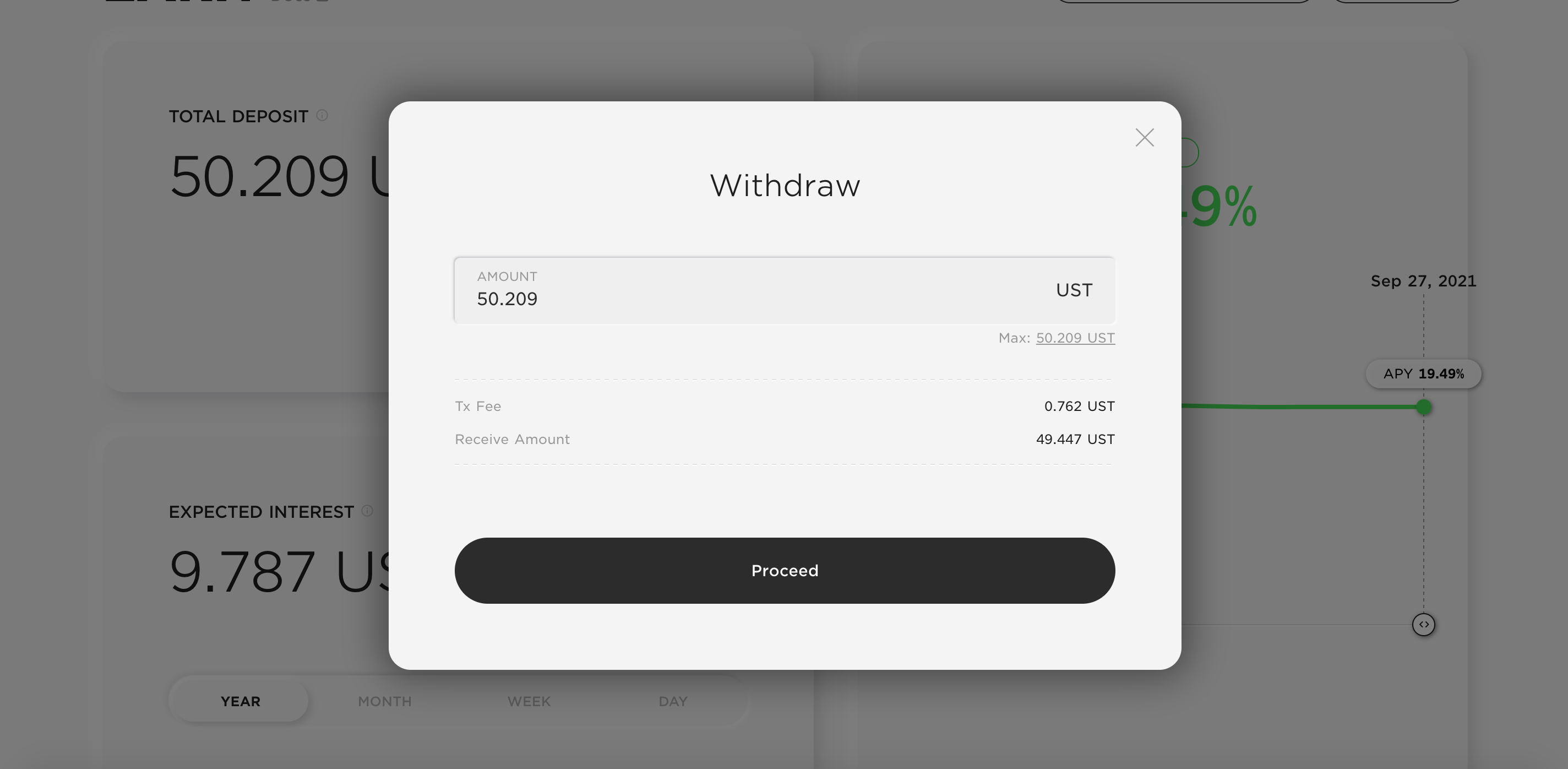 The withdraw screen on the earn page of Anchor.