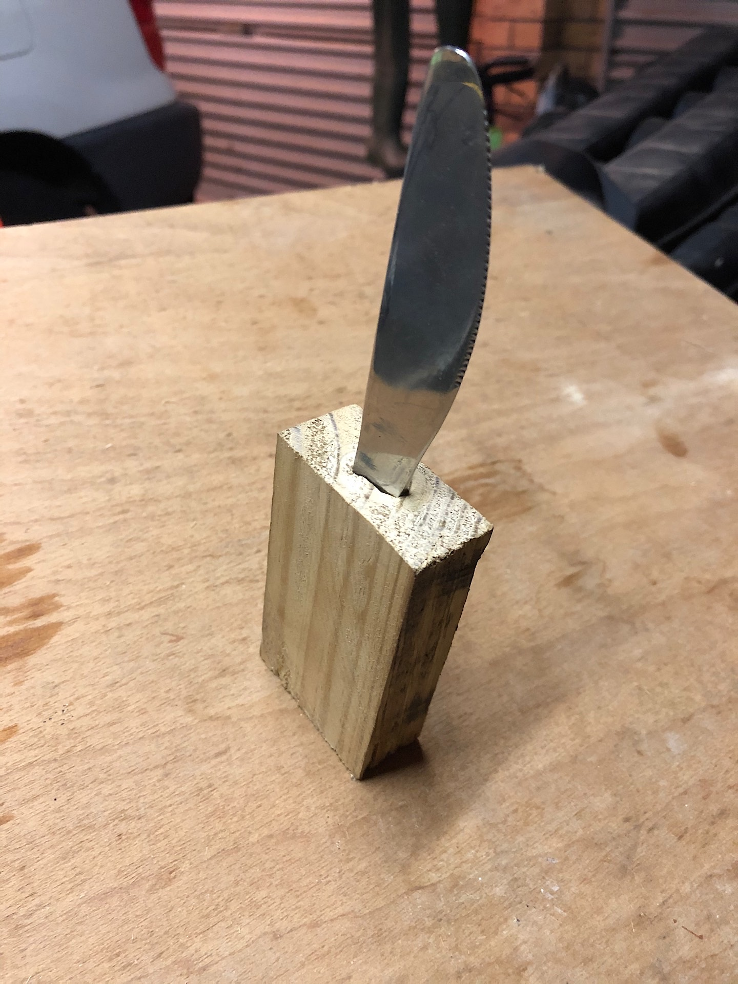 Butter knife in future wooden handle