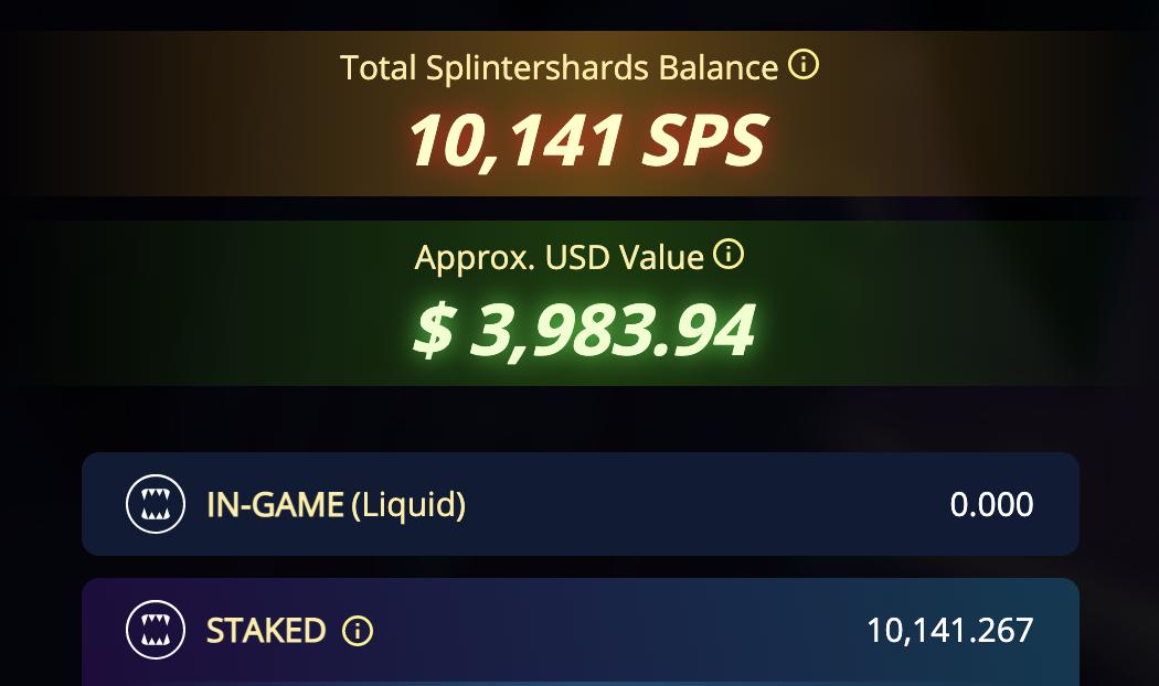 screenshot of SPS balance