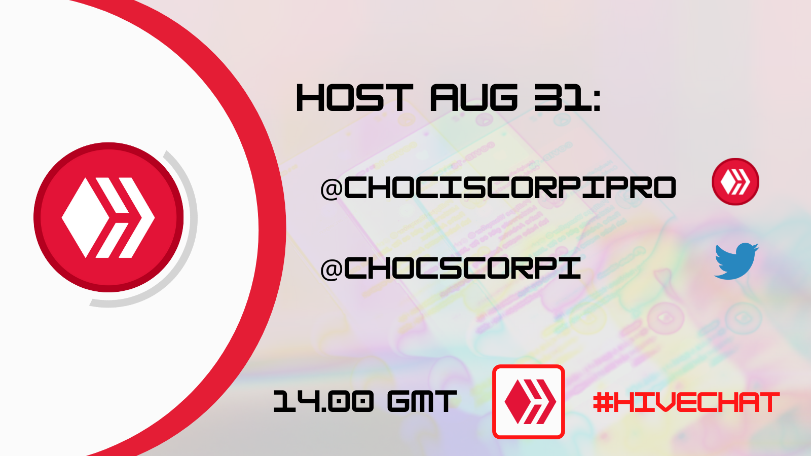 August 31 HIVECHAT announcement.png
