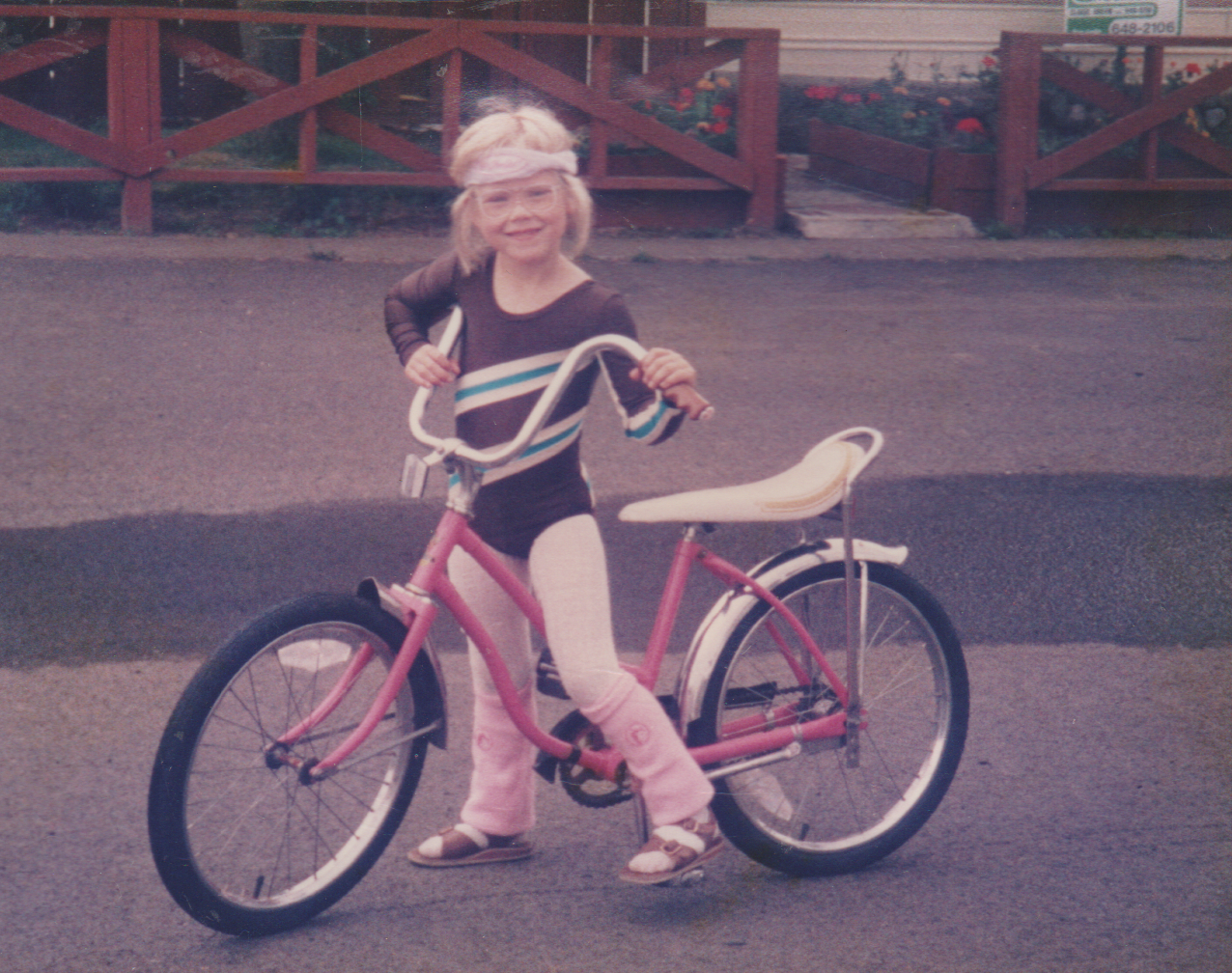 1985 maybe - Katie, pink bike, in front of 163.png