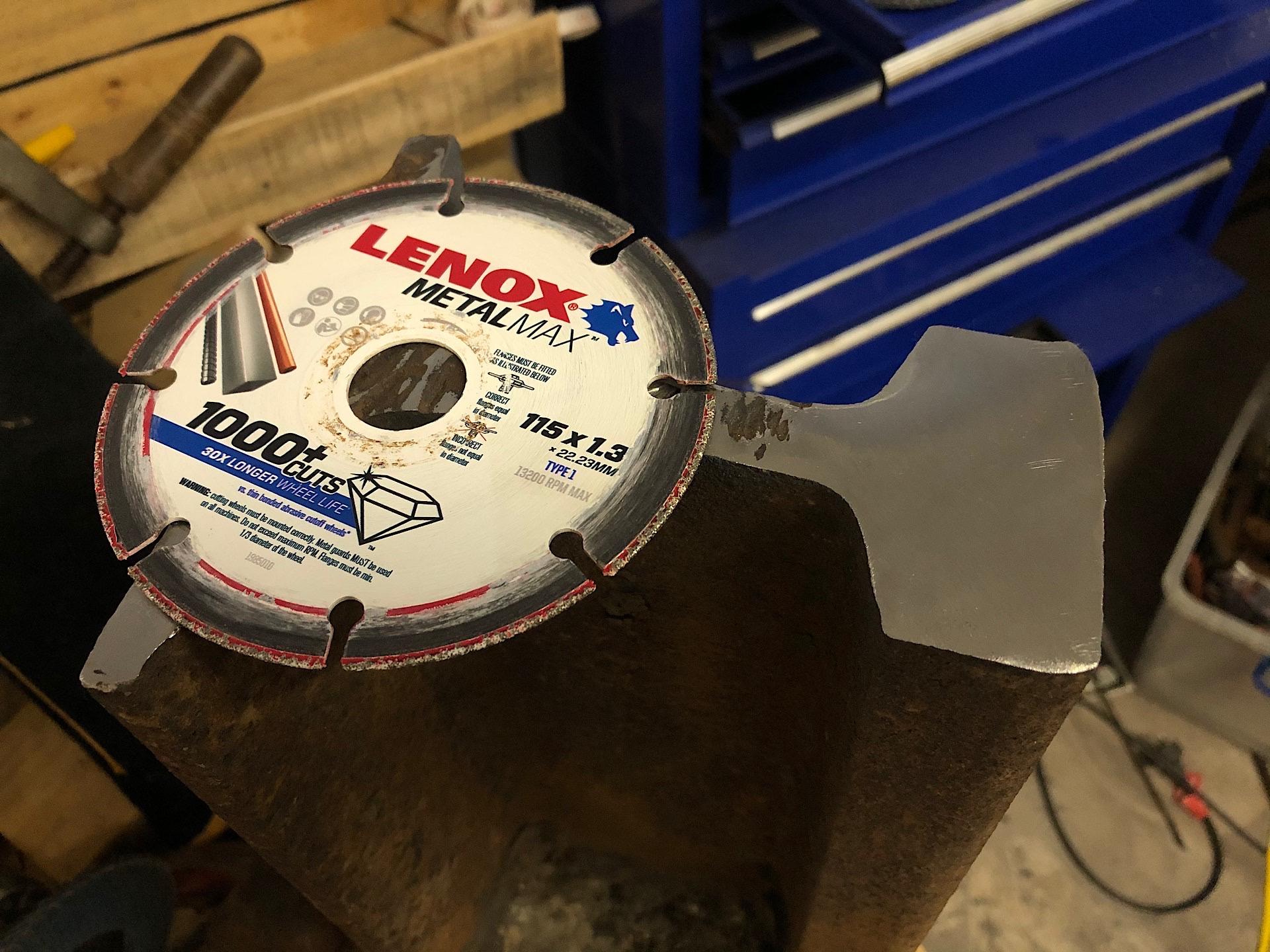 Crane rail cut with a Lenox MetalMax cutting disc