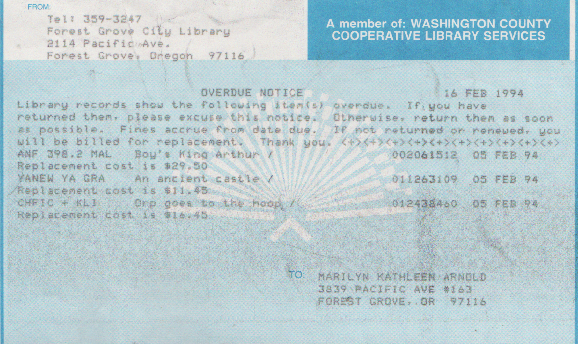 1994-02-16 - Wednesday - FG Library Overdue Notice to Marilyn Morehead Arnold Mitchell, Boy's King Arthu, An Ancient Castle, Arp Goes to the Hoop, from the 5th, Saturday.png
