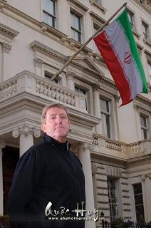 Rusty Firmin outside the Iranian Embassy in London