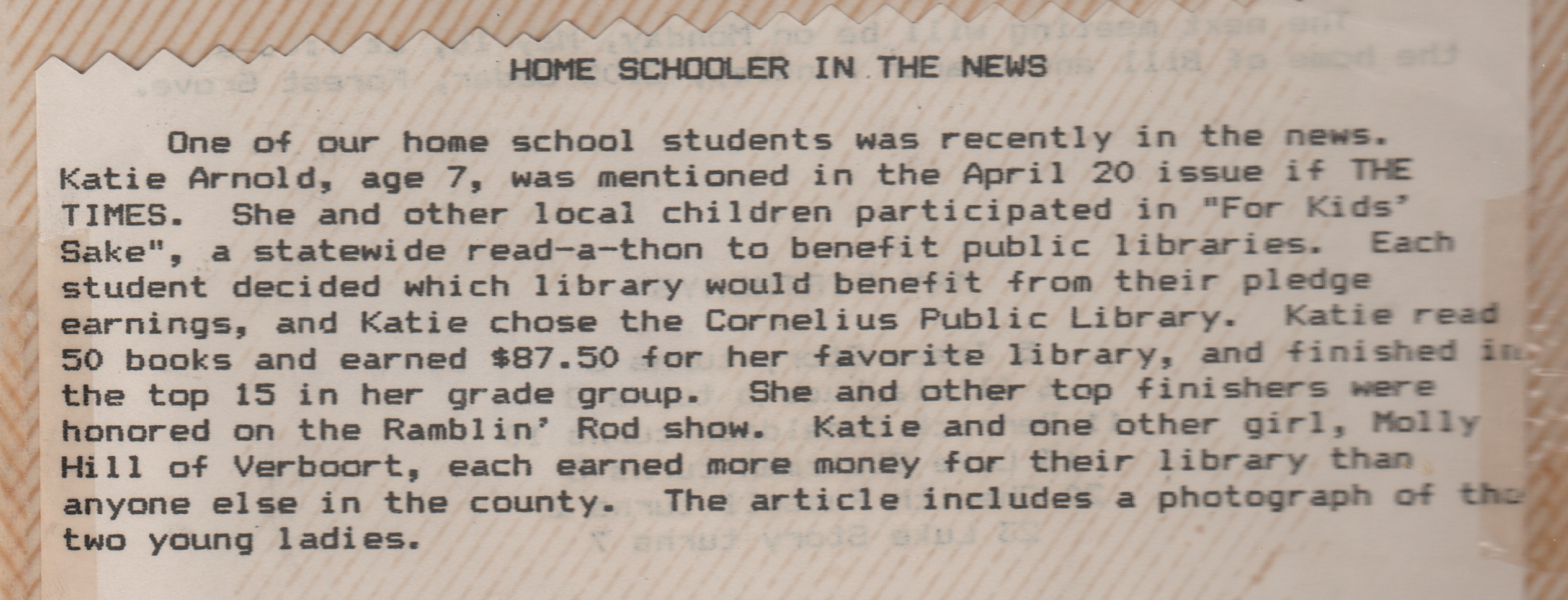 1988-04-20 - Molly Hill, Katie Arnold, county winners - 80 books read, state-wide For Kids Sake read-a-thon 2.jpg
