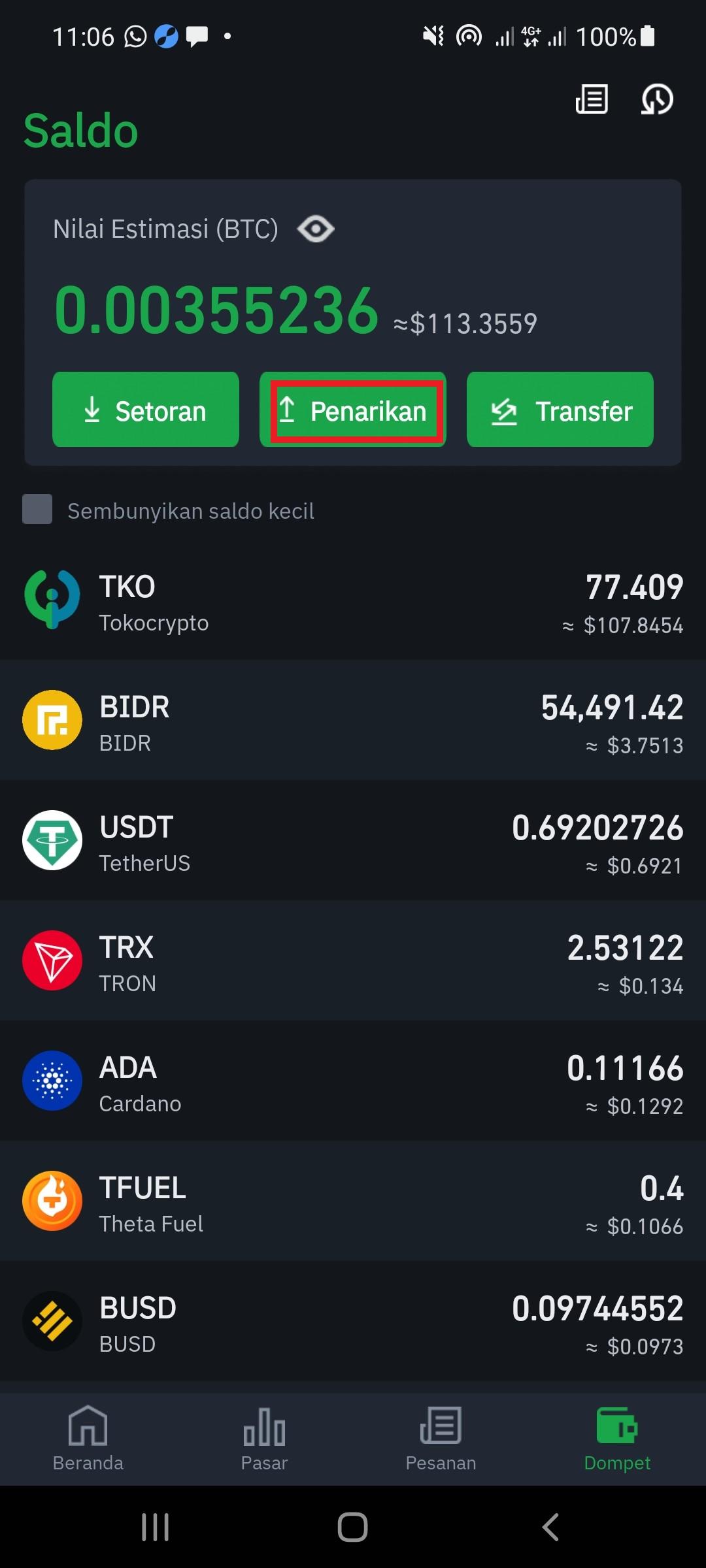 tokocrypto wallet idr