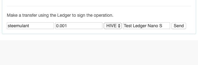 Making a transfer using Ledger Hive web interface