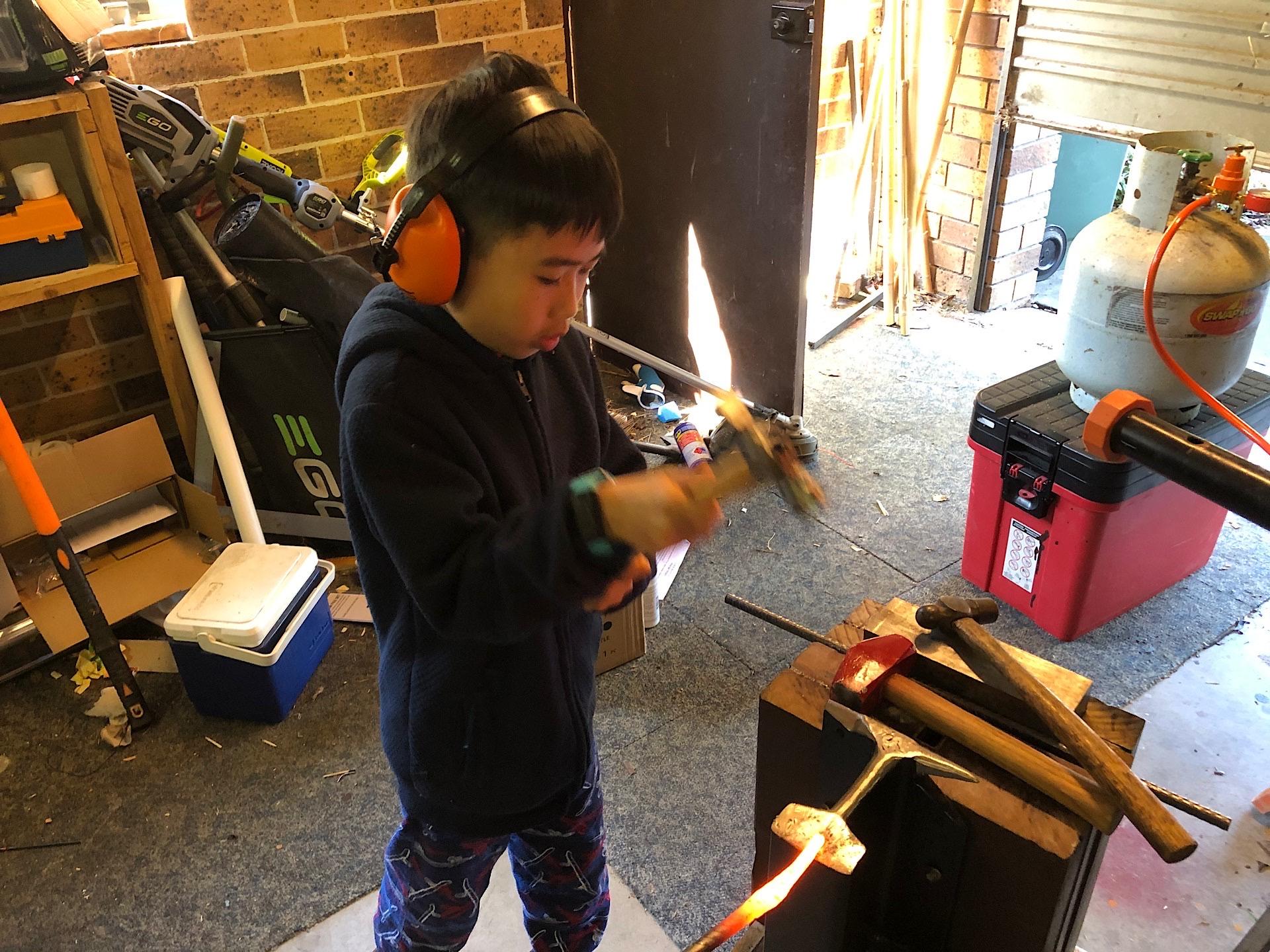 San helping me forging the tongs