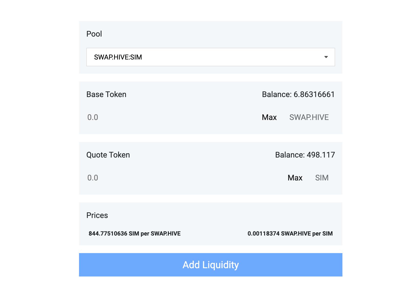 Tribaldex add liquidity interface for DeFi liquidity pools on Hive.