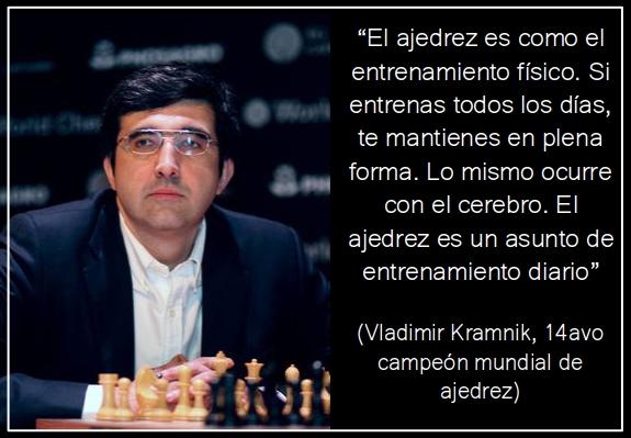 El ajedrez es como el entrenamiento físico. Si entrenas todos los días, te mantienes en plena forma. Lo mismo ocurre con el cerebro. El ajedrez es un asunto de entrenamiento diario (Vladimir Kramnik)