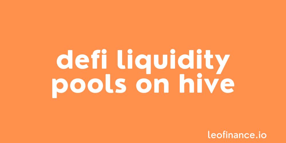 DeFi Liquidity Pools on Hive: Tribaldex Diesel Pools